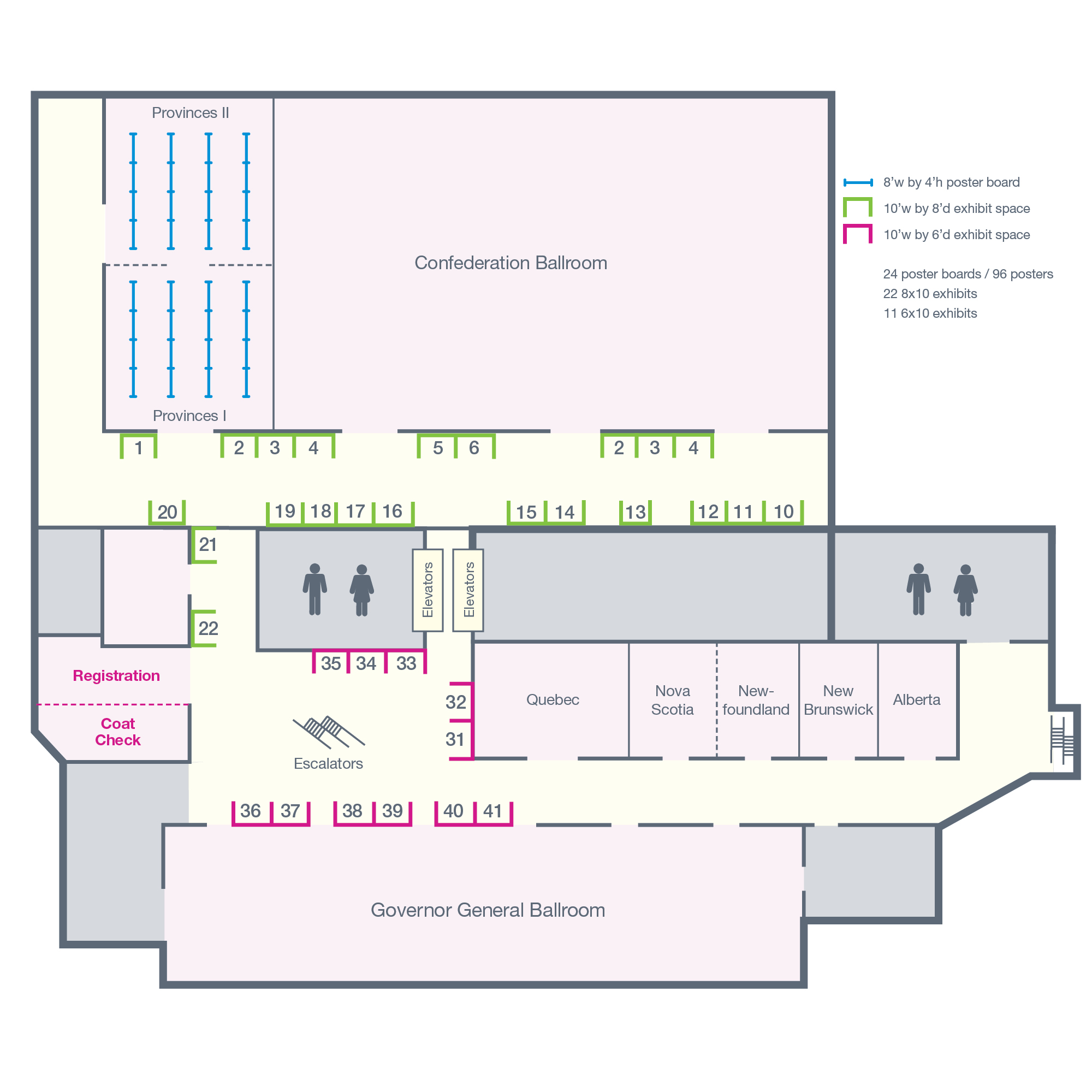 Map of the exhibit hall of the Westin Ottawa Hotel for the CCSA's Issues of Substance conference 2019.