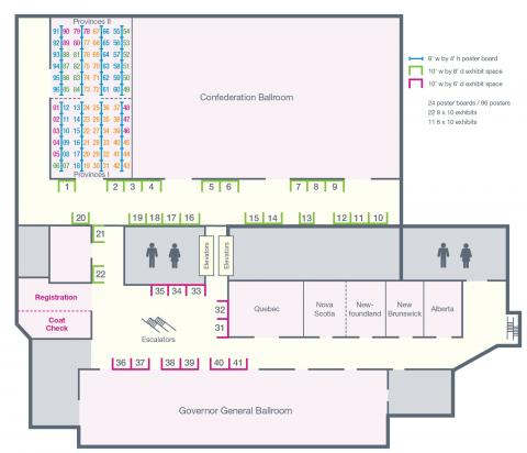Map of the exhibit hall of the Westin Ottawa Hotel for the CCSA's Issues of Substance conference 2019